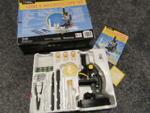 FANTASTIC COMPLETE SET OF NATIONALGEOGRAPHIC 1200 X MICROSCOPE 47 PIECE 8+YEARS