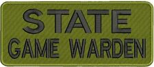 """State Game Warden"" embroidery patch 4x10 hook OD green"