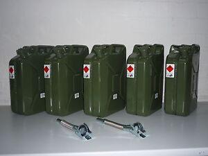 5 x 20 Liter Benzinkanister Metall inkl. Auslaufrohr  2 Stück