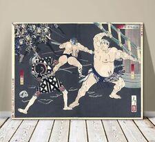 "Traditional Japanese Art ~ CANVAS PRINT 16x12"" ~ Kuniyoshi Warrior Sumo Fighter"