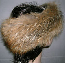 NEW RED COYOTE FUR HEADBAND NECK WRAP SCARF