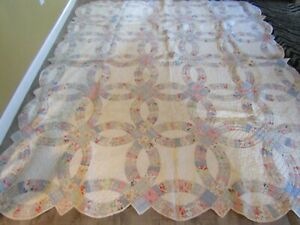 Vintage Late 1920's Double Wedding Ring Antique Quilt ~ BEAUTIFUL