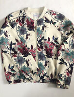 Just Fab Floral Zip Up Bomber Jacket Womens Size Small