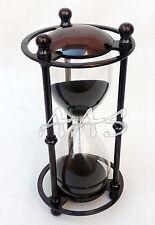 Vintage Brass Hourglass Nautical Marine Antique Black Sandglass Sand Timer Clock