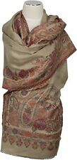 Pashmina Kani Schal Beige scarf stole 100% Wolle, wool écharpe foulard Paisley