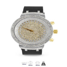 High Quality Simulated Diamond Bling Master Two Tone Men's Silicon Bling Watch