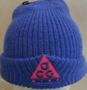 New Authentic Nike ACG Beanie (Royal Blue Pink ACG Logo) *NEW*