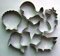 Ocean sea horse whale dolphin shark shell baking pastry cookie cutter metal set