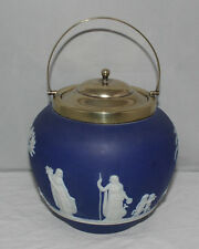 Wedgwood - Cobalt Blue Jasperware - Biscuit Barrel - EPNS Lid/handle - c1935/vgc