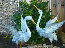 Garten Figur 2er Set Kranich  Metall bunt Tier Vogel Deko Teich  Höhe 96cm+ 80cm