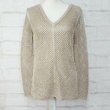 NWT Calvin Klein Open-Knit V-Neck Sweater, Tan Latte Medium M