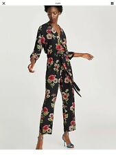 ZARA Black Floral Printed crossover jumpsuit V neck sexy Size L NWOT
