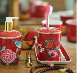 ❀ڿڰۣ❀ PiP STUDIO Red GOOD MORNING Porcelain THREE PIECE BATHROOM ACCESSORY SET