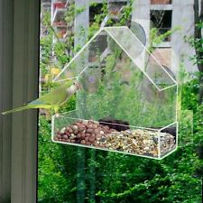 Bird Squirrel Feeder Acrylic Transparent Tray Birdhouse Window Suction Cup Mount