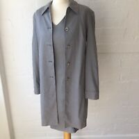 Jaeger Women's Linen Dress Suit Size 10 Light Grey With Jacket Career Wear Work