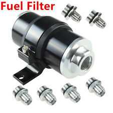 High Flow Fuel Filter 100 Micron Cleanable AN6 AN8 AN10 Fitting+Mount Holder