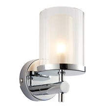 Endon Britton 1lt bathroom wall light IP44 18W Chrome & clear rippled glass