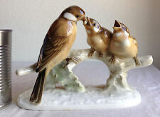"Hutschenreuther Selb Porcelain Bird Feeding Chicks 7.5"" Germany 383/4"