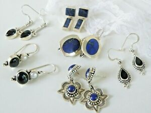 Lot of 6 Pair Sterling Silver 925 Southwestern Gemstone Earrings 1 JGD Sundance