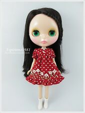 RED DRESS WHITE POLKA DOTTED DECO FLOWERS FOR NEO BLYTHE DOLL ASPIRINNO-187