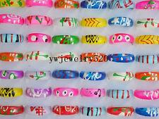 Wholesale 50Pcs Mixed Lots Cute Cartoon Children/Kids Resin Lucite Rings HOT