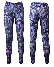 Purple Jeweled Steel Armour Panels Metallic Body Fashion Leggings Size 8-22
