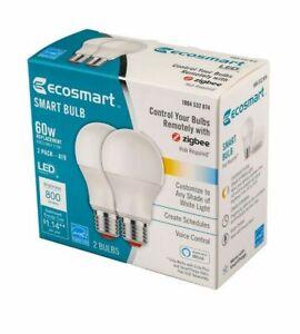 Ecosmart 60-Watt Equivalent A19 Dimmable SMART LED Light Bulbs White (2-Pack) 10