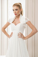 New Womens Wedding Bridal Satin & Lace Bolero Shrug Jacket Short Sleeve  S - XL