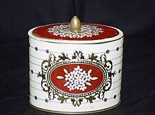 Old Vintage Daisy Flowers & Polka Dots Metal Tin Canister w Lid Kitchen Storage