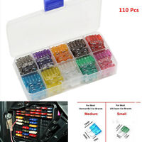 110pcs Car Auto Mini Micro Blade Fuse Box 2 3 5 7.5 10 15 20 25 30Amp Assortment