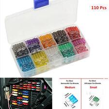 110pcs Car Auto Mini Micro Blade Fuse Box 2 3 5 7.5 10 15 20 25 30Amp Assortment