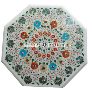 """24"""" White Marble Coffee Table Multi Stone Inlay Handmade Kitchen Home Decor H961"""