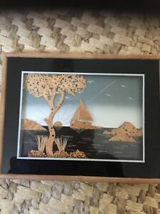 Amazing wood carved picture wood framed 3D collage VGC Sailing Scene.