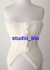DOLCE & GABBANA D&G Ivory Wool Cable Sweater Bustier Bra Top S