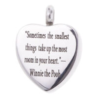 Set Auger Heart Urn Pendant Necklace Memorial Ash Keepsake Cremation Jewelry
