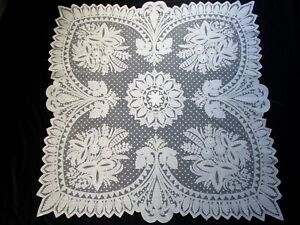 Antique 1900 Carrickmacross Lace Doily, Table Topper