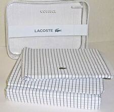 LACOSTE College Twin Sheet Set X Long Cotton Grid Checked 3 Piece Gray  NWT