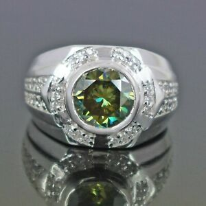 Greenish Blue Diamond Wedding Ring With Accents, 4.60 Ct Certified WATCH VIDEO