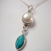 Cultured Pearl and Turquoise Marquise 925 Sterling Silver Pendant