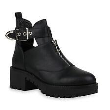 Damen Stiefeletten Ankle Boots Cut Out Plateau Booties Schnalle 832452 Schuhe