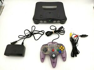 Nintendo 64 N64 Game Console System + Clear Purple Controller Tested & Working