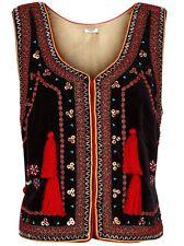 Vilshenko negro terciopelo adornado Nadia Chaleco UK 10 Folklore 70s Oro Rojo
