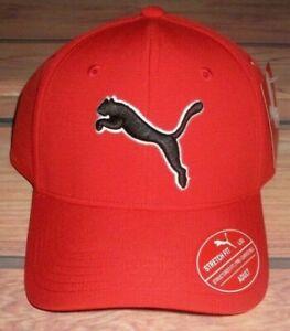 MENS PUMA STRETCH FIT FITTED RED HAT CAP SIZE L/XL