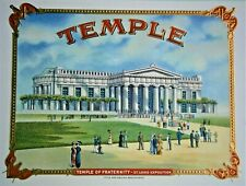 "1904 Worlds Fair St. Louis Exposition Masonic ""TEMPLE"" Inner Lid Cigar Box Label"