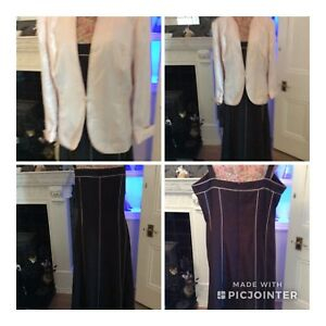 Jacques  Vert Brown Pink Shantung Calf Dress Jacket S 22 Pristine