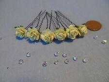 6 Rose Hair Pins Wedding Bridal Hair Flowers Bridesmaid Flowergirl Party