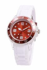 Silikon Armbanduhr Damen Kult Trend Gummi Watch Weiß / Kupfer ( F1 )