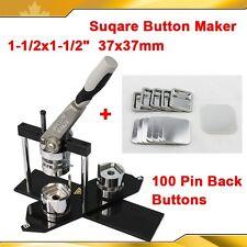 "DIY  Square 1-1/2x1-1/2""(37x37mm) KIT!! N4 Badge Button Maker Machine+100 Pin"