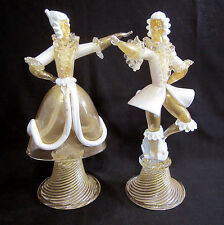 "Pair of Murano Glass Dancers Figurines Figures 13.5"" Tall"