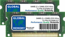 64Mb (2 x 32Mb) 60ns 72-Pin Edo Sodimm Memory Ram Kit For Laptops/Notebooks